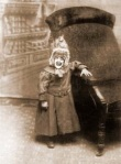 Great Grandma Eulalia Richfield - 1903 - When she had her first picture taken, little Eulalia insisted that they create her own coture. She made the hat out of two burlap sacks and the down from six geese.