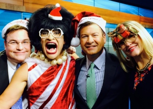 Keith Marler, Me, Tom Butler & M.A. Rosko partying on morning TV!